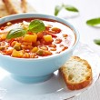 Minestrone soup with bread - Stock Photo