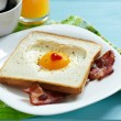 Heart shaped fried egg — Stock Photo