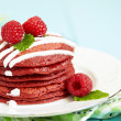 Stack of Red Velvet Pancakes - Stock Photo