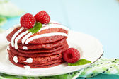 Stack of Red Velvet Pancakes — Stock Photo