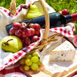 Romantic picnic basket — Stock Photo