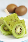 Kiwi Ice Cream Popsicle — Stock Photo