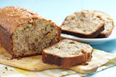 Sliced banana bread with walnuts — Stock Photo
