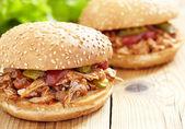 Puxou o sanduíche de carne de porco — Foto Stock