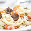Stock Photo: Creamy Shrimp and Mushroom Pasta