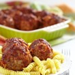 Pasta with meatballs and tomato sauce - Stock Photo