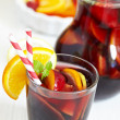 Sangria red wine with fruits — Stock Photo