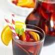 Sangria red wine with fruits - Stock Photo