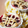 Stock Photo: Homemade lattice berry pies