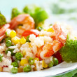 Rice with vegetables and shrimps — Foto Stock
