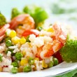 Rice with vegetables and shrimps — Stockfoto