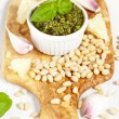 Fresh pesto with basil — Stock Photo