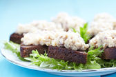 Jewish appetizer with herring — Stock Photo