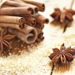 Cinnamon sticks, brown sugar and anise stars — Stock Photo