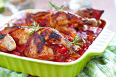 Baked chicken with vegetables — Stock Photo