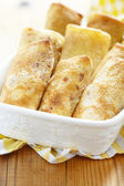 Stuffed pancakes crepes — Stock Photo
