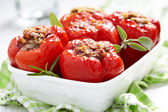 Stuffed peppers with meat and bulgur — Stock Photo