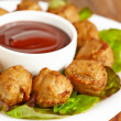 Meatball appetizers with dipping sauce — Stock Photo #30456469