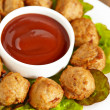 Meatball appetizers with a dipping sauce — Stock Photo