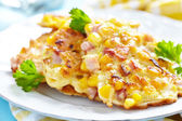 Vegetable Fritters with Ham — Stock Photo
