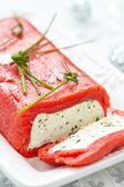 Cheese terrine wrapped with smoked salmon — Stock Photo