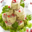 Stock Photo: Roll up tortilla, ham and cheese for Christmas
