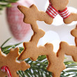 Gingerbread snowflake cookies — Stock Photo