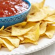 Stock Photo: Nachos corn chips with fresh salsa
