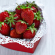 Fresh strawberries in a heart shaped box — Photo