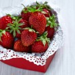 Fresh strawberries in a heart shaped box — Foto de Stock