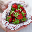 Fresh strawberries in a heart shaped box — Stock Photo