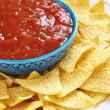 Nachos corn chips with fresh salsa — Stock Photo