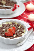 Cheesecake with chocolate crumble — Stock Photo