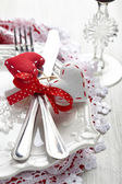 Romantic holiday table setting — Stock Photo