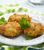 Vegetable pancakes with potato and brussel sprouts — Stock Photo