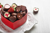 Heart shape chocolate candies — Stock Photo