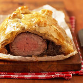 Fillet Wellington in puff pastry — Stock Photo