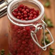 Pink Peppercorns In Spice Jar — Stock Photo #39574229
