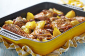 Spanish chicken casserole with chorizo — Stock Photo