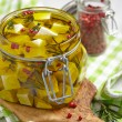 Stock Photo: Marinated cheese in olive oil