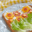 Sandwich for child with flowers — Stock Photo