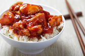 Sweet and Sour Chicken on Rice — Stock Photo