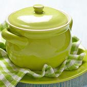 Green ceramic pot — Stock Photo