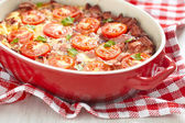 Omelette with tomato and sausage — Stock Photo