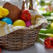 Cake and colorful eggs for Easter — Stock Photo
