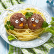 Spaghetti with meatballs for kids — Stock Photo #42675743