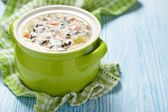 Chicken wild rice soup — Stock Photo