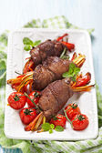 Steak Rolls with vegetables — Stock Photo