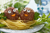 Spaghetti with meatballs for kids — Stock Photo