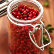 Pink Peppercorns In Spice Jar — Stock Photo